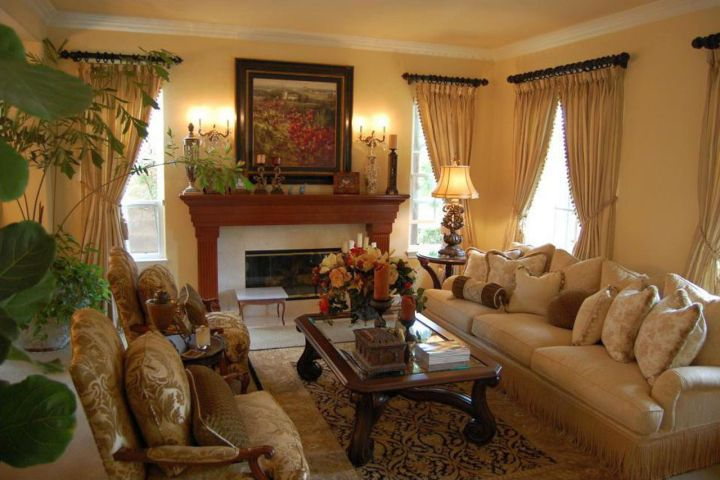 Victorian living room in beige and brown