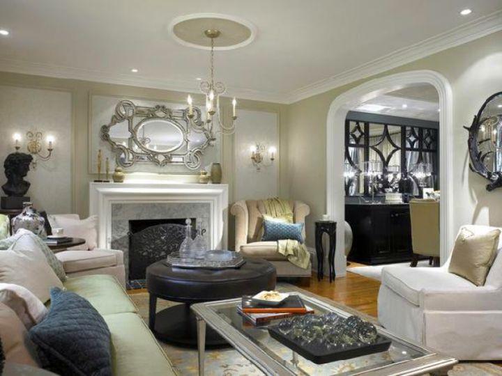 Victorian living room in monochrome