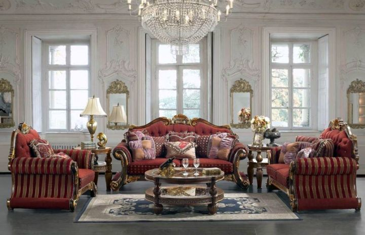 Victorian living room in red