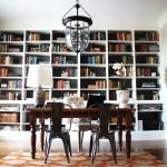 White bookshelf decoration blended with dark office furniture