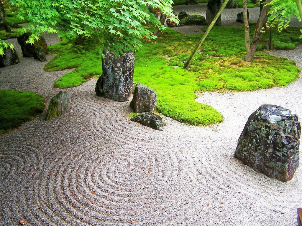 Zen garden landscaping designs with big rocks for Garden patterns ideas