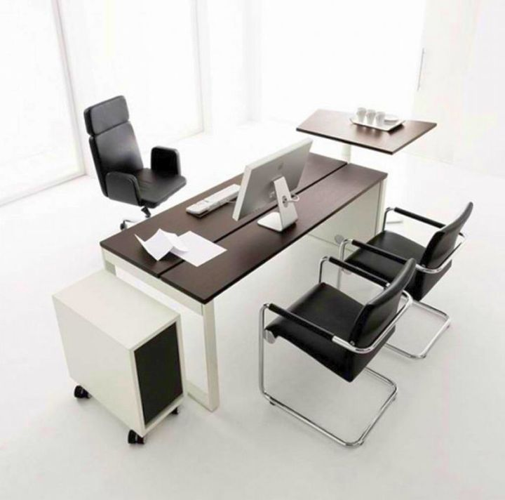 17 Gray Home Office Furniture Designs Ideas Plans: 17 Sleek Office Desk Designs For Modern Interior