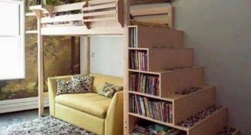 adult loft bed with stairs with canopy and stairs shelving