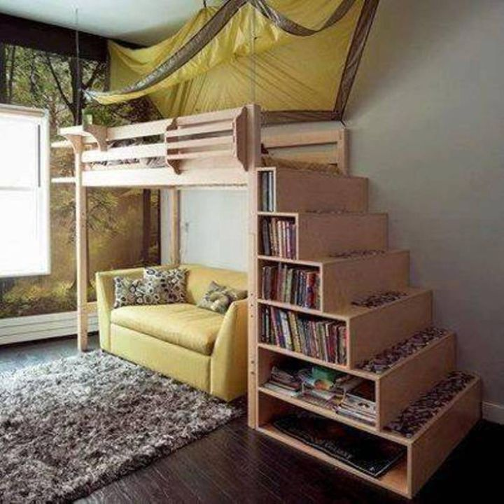 19 cool adult loft bed with stairs designs - Adult loft beds with stairs ...