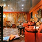 african living room decor with mirrored ceiling