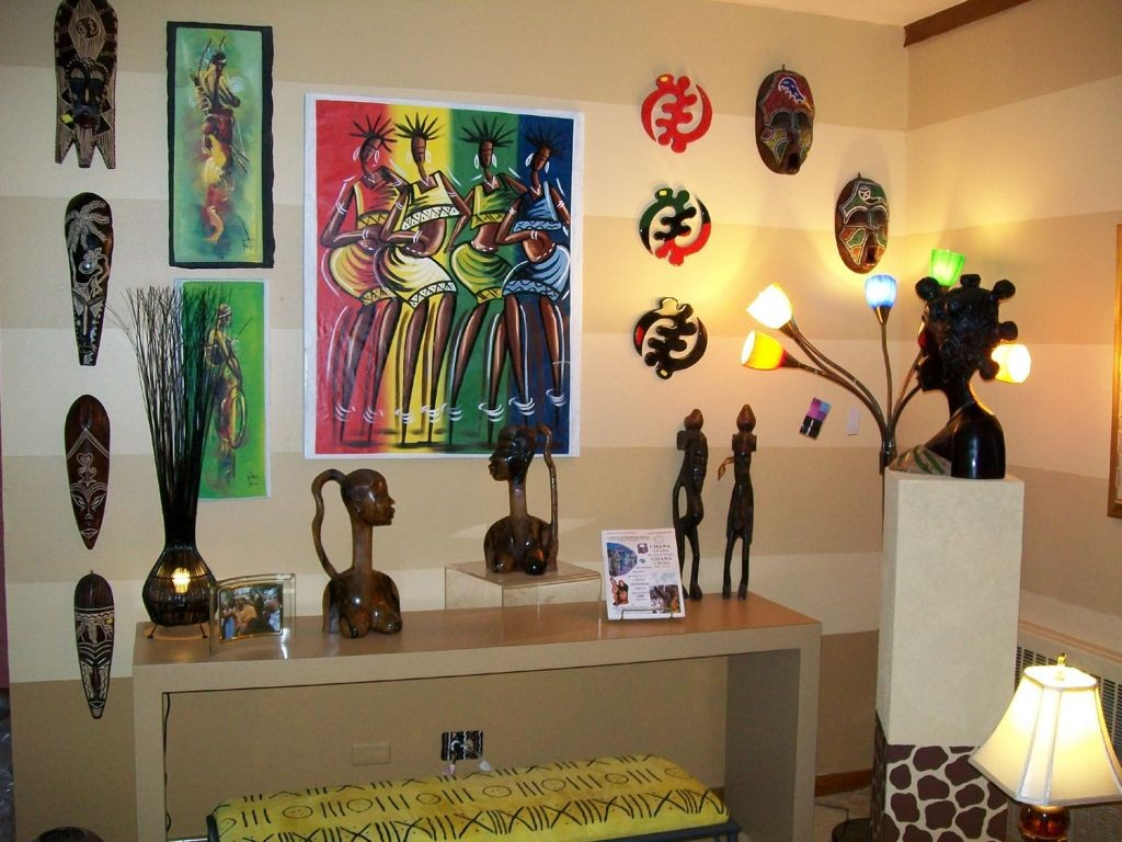 african living room decor with statuettes and masks