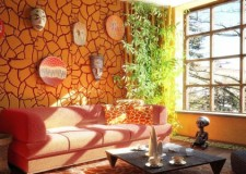 african living room decor with stone wall and hanging masks