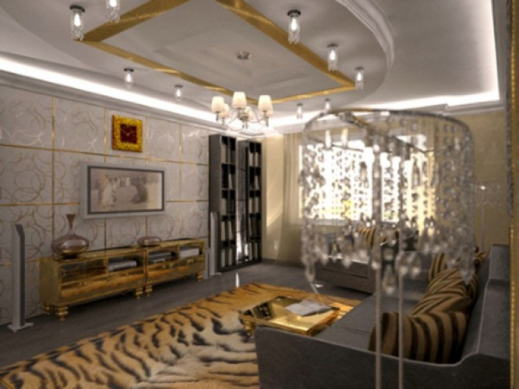 African Living Room Decor With Tiger Print Rug