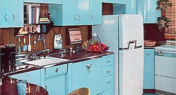 all blue vintage and retro kitchen design