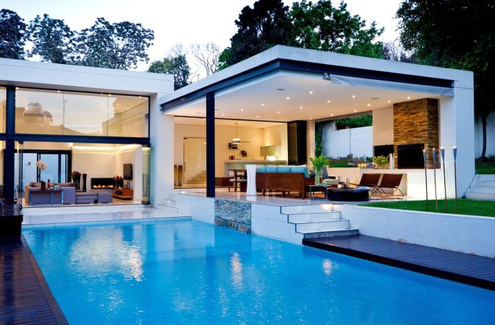 amazing modern homes with glass walls and lap pool