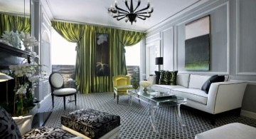 art deco living rooms with spider chandelier and green curtains