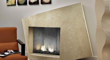 artsy built in modern white fireplace design