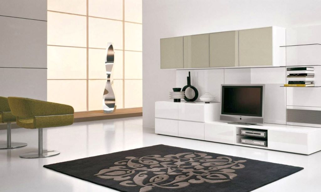 White Living Room Wall Units Modern House