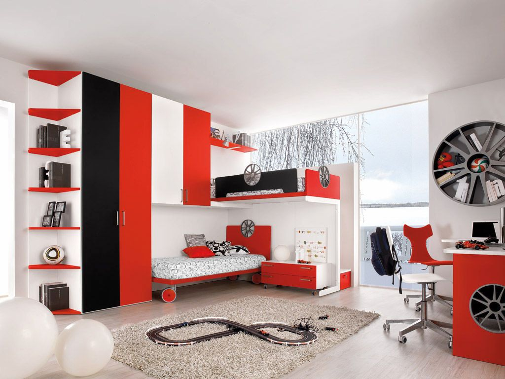 Awesome motor themed red black and white bedroom ideas for Bedroom ideas in black and white
