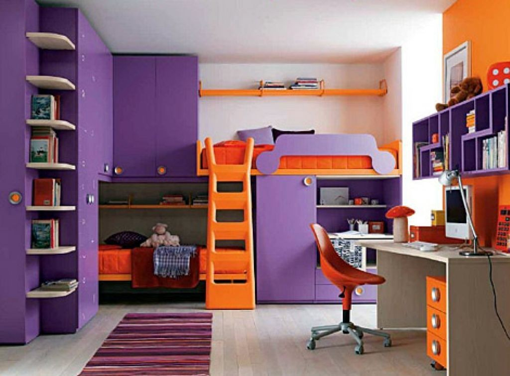 awesome rooms for girls in funky purple and orange