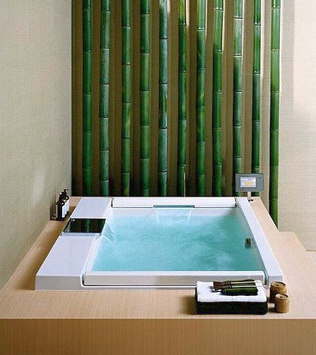 Bamboo themed bathroom for small space for Bamboo bathroom design