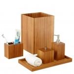 bamboo themed bathroom toiletries set