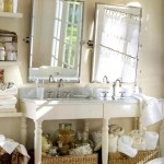 bamboo themed bathroom with bamboo baskets