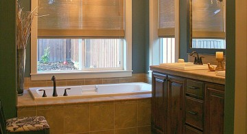 bamboo themed bathroom with bamboo curtain