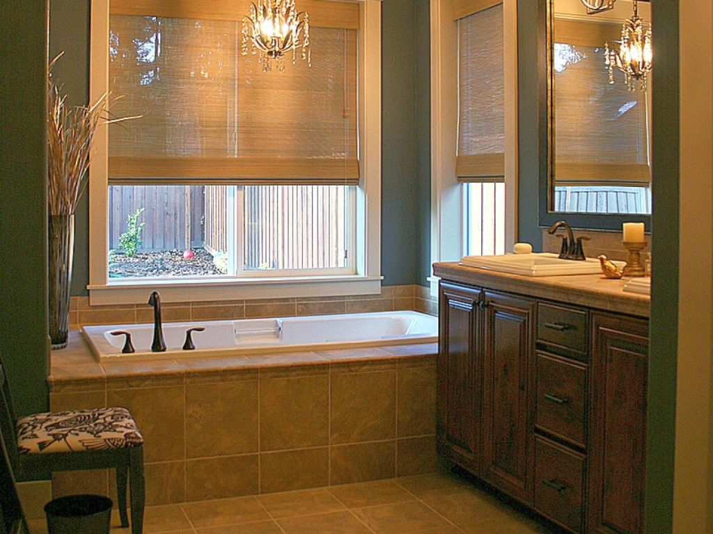 Bamboo themed bathroom with bamboo curtain for Bamboo bathroom design