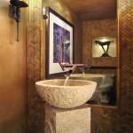 bamboo themed bathroom with bamboo wall