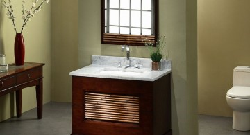 bamboo themed bathroom with simple drawer