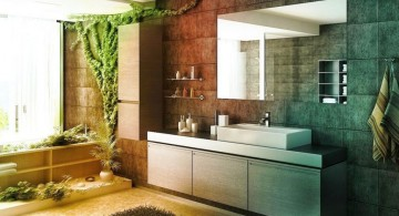 bamboo themed bathroom with sleek washbin