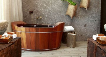 bamboo themed bathroom with wood tub