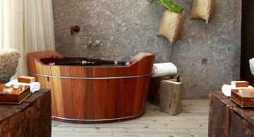bamboo themed bathroom with wood tub