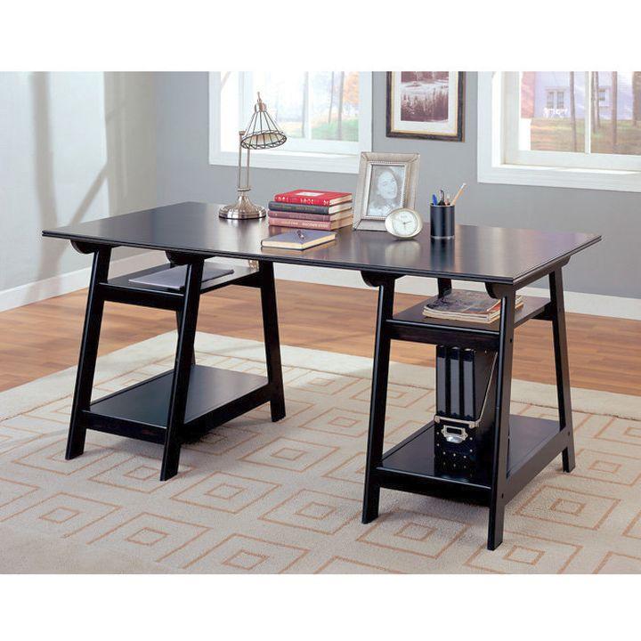 bare and sleek office desk in black