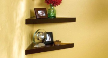 basic two tiered corner shelf designs