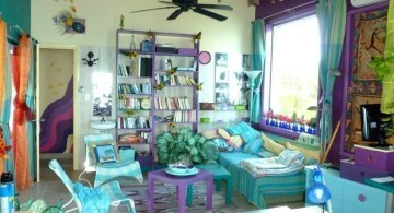 beach style turquoise living room