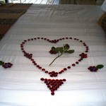 bedroom decoration for valentines day using red peebles