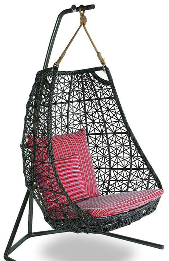 bedroom swing chair in black wicker with magenta cushion. Black Bedroom Furniture Sets. Home Design Ideas
