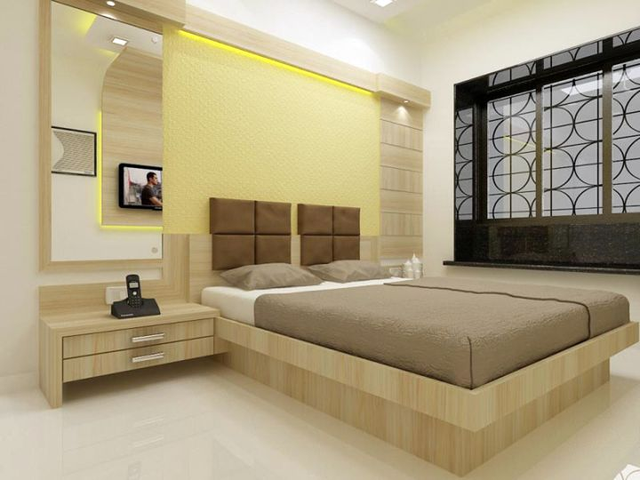 bedroom wall panel design ideas with mounted headboard