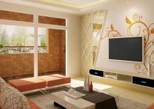 beige living room walls with decals