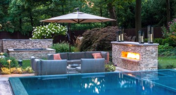 best backyard swimming pool designs with outdoor fireplace and small seating place