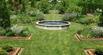big and spacious landscape fountain design ideas