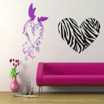 big zebra heart pink and black wall decor