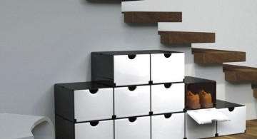 black and white boxes shoe cabinets design ideas