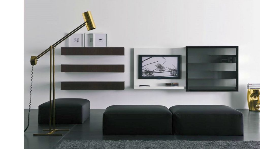 19 great designs of wall shelving unit for living room for Black wall units for living room
