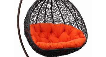 black wicker and orange red cushion enough for two bedroom swing chair
