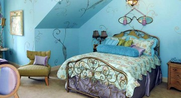 blue and gold bedroom for loft
