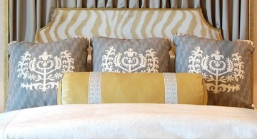 blue and gold bedroom with unique zebra print