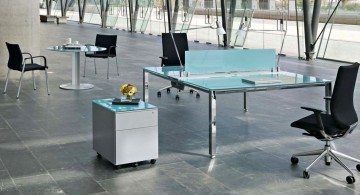 blue glass minimalist office furniture