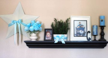 blue themed floating shelf decorating ideas