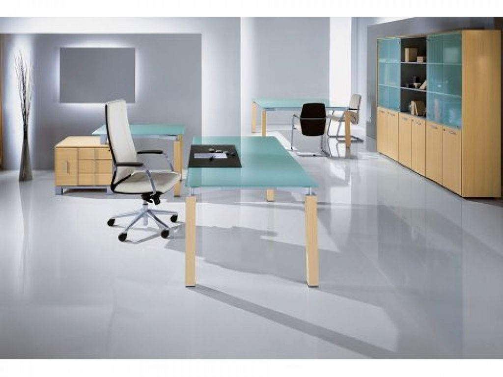 Blue toned minimalist office furniture for Modern minimalist office design