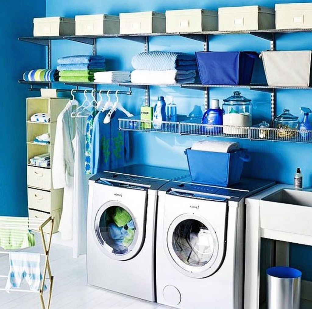 blue toned small laundry room designs