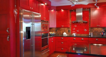 bold red lacquer kitchen cabinet for small kitchen