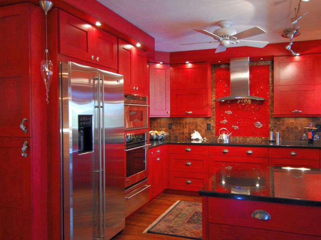 Red Lacquer Kitchen Cabinets Monsterlune - Lacquer kitchen cabinets